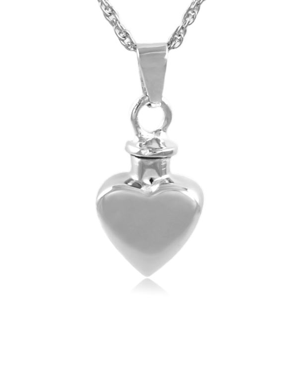 Small Heart Sterling Silver Cremation Jewelry Pendant Necklace