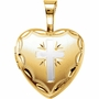 Small Heart with Radiant Cross Gold Vermeil Memorial Locket Jewelry Necklace