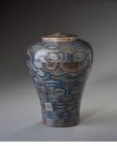 Small Lily Blue Wood Cremation Urn