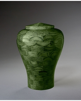 Small Lily Green Wood Cremation Urn