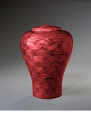 Small Lily Pink Wood Cremation Urn