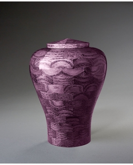 Small Lily Purple Wood Cremation Urn