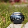 Small Moonlight Blue  /  Pewter Odyssey Paw Print Pet Cremation Urn