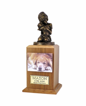 Small My Best Dog Ever Photo Oak Wood Pet Cremation Urn