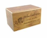 Small Natural Finish MDF Wood Cremation Urn