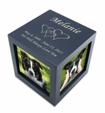 Small Navy Photo Cube Pet Cremation Urn