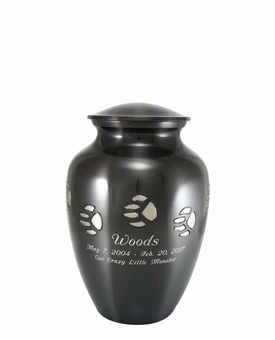Small Paw Print Pet Cremation Urn - Engravable