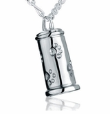 Small Paw Print Traditional Sterling Silver Pet Cremation Jewelry Pendant Necklace