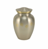 Small Paw Prints Classic Pewter Pet Cremation Urn - Engravable