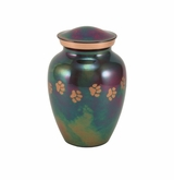 Small Paw Prints Classic Raku Pet Cremation Urn - Engravable