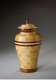 Small Peace Maple and Black Walnut Wood Cremation Urn