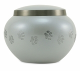 Small Pearl   /  Pewter Odyssey Paw Print Pet Cremation Urn