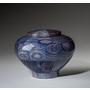Small Peony Blue Wood Cremation Urn