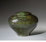 Small Peony Green Wood Cremation Urn