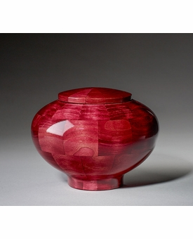Small Peony Pink Wood Cremation Urn