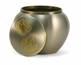 Small Pewter / Brass Odyssey Paw Print Pet Cremation Urn