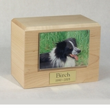 Small  Photo Maple Wood Pet Cremation Urn