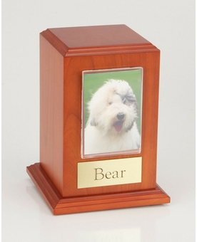 Small Photo Tower Cherry Wood Pet Cremation Urn