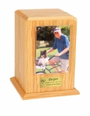 Small Photo Tower Oak Wood Pet Cremation Urn