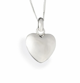 Small Puff Heart Polished Sterling Silver Cremation Necklace Pendant