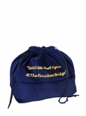 Small Rainbow Bridge Blue Velvet Pet Cremation Urn Bag