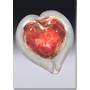 Small Red Boundless Heart Cremains Encased in Glass Keepsake Cremation Urn