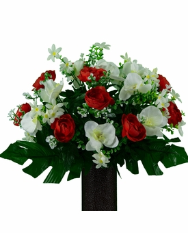 Small Red Cabbage Rose and White Orchid Silk Flowers for Cemeteries