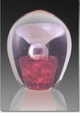 Small Red Enduring Fountain Cremains Encased in Glass Keepsake Cremation Urn