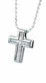 Small Sand Textured Cross Sterling Silver Cremation Jewelry Pendant Necklace