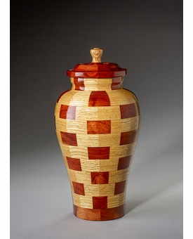 Small Serenity Oak and Padauk Wood Cremation Urn