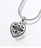 Small Sterling Silver Filigree Heart Cremation Jewelry