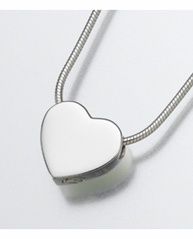Small Sterling Silver Sliding Heart Cremation Jewelry
