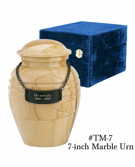 Small Teakwood Marble Cremation Urn
