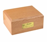 Small Traditional Oak Wood Pet Cremation Urn