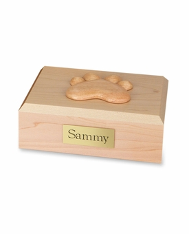 Small Traditional Paw Print Maple Wood Pet Cremation Urn