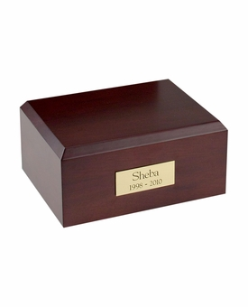 Small Traditional Walnut Wood Pet Cremation Urn