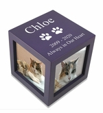 Small Violet Photo Cube Pet Cremation Urn