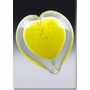 Small Yellow Boundless Heart Cremains Encased in Glass Keepsake Cremation Urn