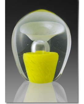 Small Yellow Enduring Fountain Cremains Encased in Glass Keepsake Cremation Urn