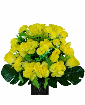 Small Yellow Rose and Carnation Silk Flowers for Cemeteries