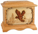 Soaring Eagle with 3D Inlay Oak Wood Cremation Urn