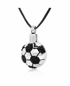Soccer Ball Stainless Steel Cremation Jewelry Pendant Necklace