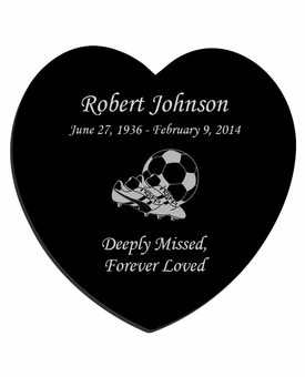 Soccer Laser-Engraved Heart Plaque Black Granite Memorial