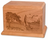 Soft Breezes Sailboat Cherry Wood Newport Laser Carved Cremation Urn