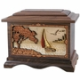 Soft Breezes Sailboat with 3D Inlay Walnut Wood Cremation Urn