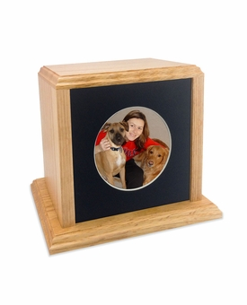 Solid Oak Wood Large Pet Cremation Urn with Round Photo Mat Board