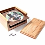 Solid Oak Wood Large Pet Cremation Urn with Square Photo Mat Board