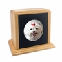Solid Oak Wood Medium Pet Cremation Urn with Round Photo Mat Board