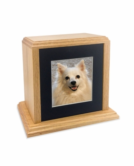 Solid Oak Wood Medium Pet Cremation Urn with Square Photo Mat Board