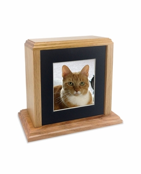 Solid Oak Wood Small Pet Cremation Urn with Square Photo Mat Board